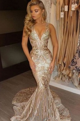Champagne Gold V-neck Sleeveless Mermaid Sexy Deep Sequins Evening Gown_2
