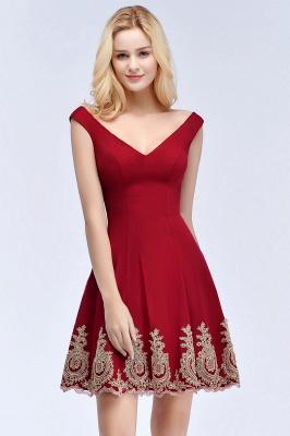 ROSE | A-line V-neck Short Off-shoulder Appliques Burgundy Homecoming Dresses_6