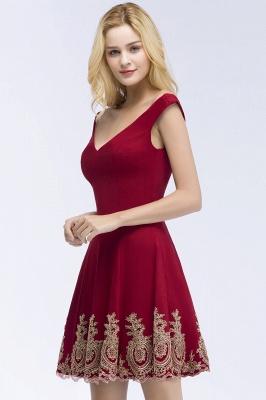 ROSE | A-line V-neck Short Off-shoulder Appliques Burgundy Homecoming Dresses_4