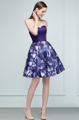 RICARDA | A-line Strapless Sweetheart Short Print Homecoming Dresses_7
