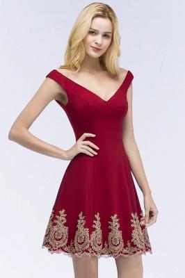 ROSE | A-line V-neck Short Off-shoulder Appliques Burgundy Homecoming Dresses_7