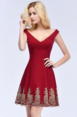 ROSE | A-line V-neck Short Off-shoulder Appliques Burgundy Homecoming Dresses_8