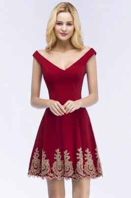 ROSE | A-line V-neck Short Off-shoulder Appliques Burgundy Homecoming Dresses_1