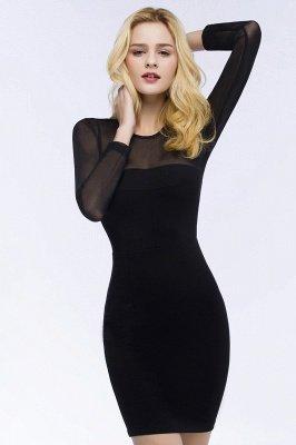 ROBERTA | Sheath Long Sleeves Sheer Neckline Plus Size Short Black Homecoming Dresses_5