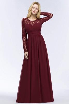ROSALIE | A-line Floor Length Long Sleeves Lace Chiffon Bridesmaid Dresses_6