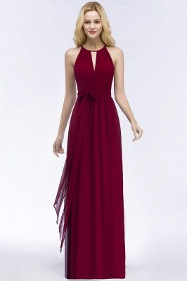 ROSALIND | A-line Halter Floor Length Burgundy Bridesmaid Dresses with Bow Sash_14