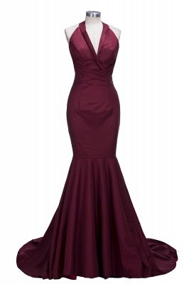 Mermaid Sleeveless Burgundy Prom Dresses Cheap | Sexy V-neck Open Back Evening Gowns_1
