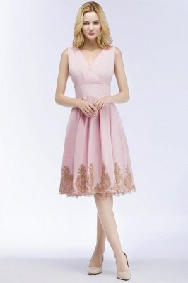 ROSEANNE | A-line V-neck Knee Length Sleeveless Appliques Homecoming Dresses_7