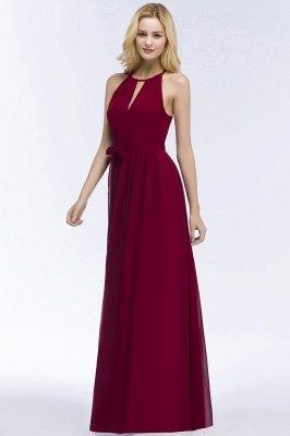 ROSALIND | A-line Halter Floor Length Burgundy Bridesmaid Dresses with Bow Sash_11