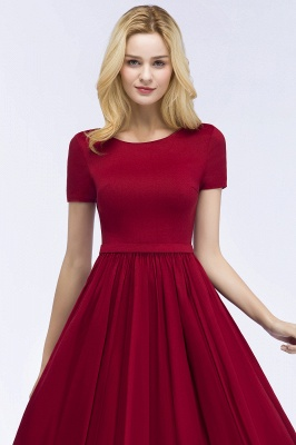 ROSEANNA | A-line Short Sleeves Ankle Length Appliques Prom Dresses with Sash_7