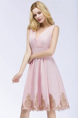 ROSEANNE | A-line V-neck Knee Length Sleeveless Appliques Homecoming Dresses_8
