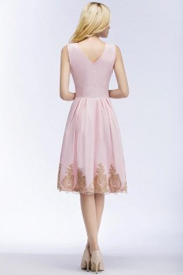 ROSEANNE | A-line V-neck Knee Length Sleeveless Appliques Homecoming Dresses_4