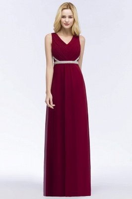 ROSALINE | A-line Long Sleeveless V-neck Ruffled Chiffon Bridesmaid Dresses with Beading Sash