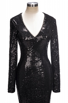 V-Neck Sequins Mermaid Long Sleeve Shiny Black Long Prom Dresses Cheap | Black Prom Dresses Cheap_1