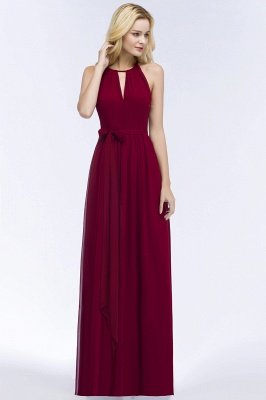 ROSALIND | A-line Halter Floor Length Burgundy Bridesmaid Dresses with Bow Sash_13