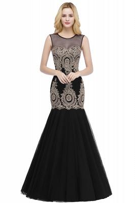 RUBY | Mermaid Sleeveless Sheer Neckline Appliqued Burgundy Tulle Prom Dresses_2