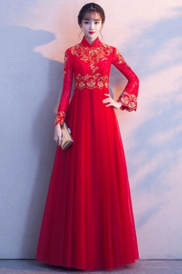 A-line Long Sleeves V-neck Lace-up Red Tulle Prom Dresses/Formal Evening Gowns with Lace Appliques_9