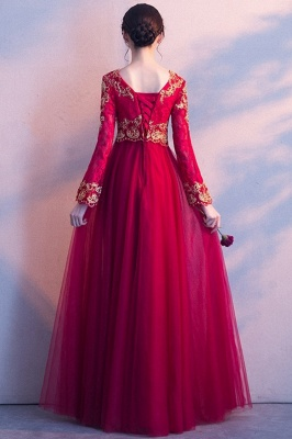 A-line Long Sleeves V-neck Lace-up Red Tulle Prom Dresses/Formal Evening Gowns with Lace Appliques_4