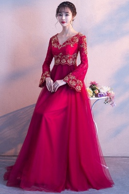 A-line Long Sleeves V-neck Lace-up Red Tulle Prom Dresses/Formal Evening Gowns with Lace Appliques_5