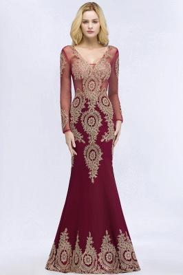 RUTH | Mermaid V-neck Floor Length Long Sleeves Appliques Prom Dresses_8