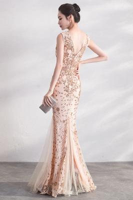 Mermaid V-neck Sleeveless Floor Length Golden Sequined Patterns Tulle Prom/Formal Evening Dresses_3