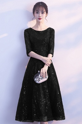 A-line Scoop Half Sleeves Tea Length Sequined Patterns Homecoming/Cockatail Dresses_3