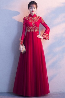 A-line Long Sleeves V-neck Lace-up Red Tulle Prom Dresses/Formal Evening Gowns with Lace Appliques_6