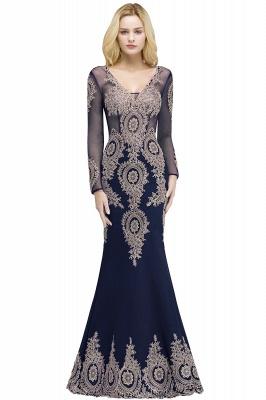 RUTH | Mermaid V-neck Floor Length Long Sleeves Appliques Prom Dresses_1