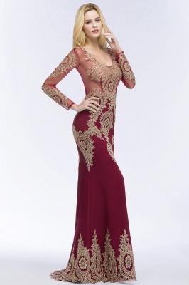 RUTH | Mermaid V-neck Floor Length Long Sleeves Appliques Prom Dresses_7