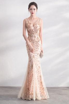 Mermaid V-neck Sleeveless Floor Length Golden Sequined Patterns Tulle Prom/Formal Evening Dresses_6