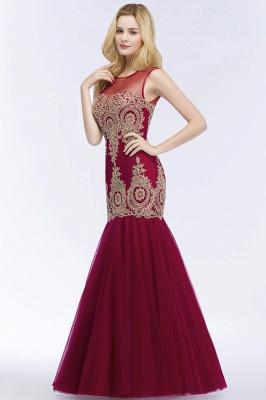 RUBY | Mermaid Sleeveless Sheer Neckline Appliqued Burgundy Tulle Prom Dresses_5