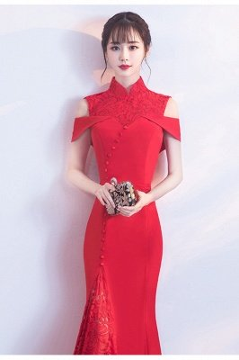 Mermaid High Neck Floor Length Red Lace Hollow Lace-up Prom Dresses/Formal Evening Gowns_4