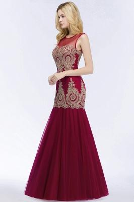 RUBY | Mermaid Sleeveless Sheer Neckline Appliqued Burgundy Tulle Prom Dresses_6