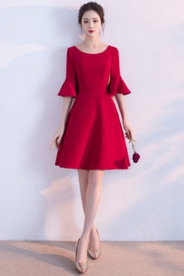 A-line Knee Length Scoop Ruffles Homecoming/Cocktail Dresses with Sleeves_2