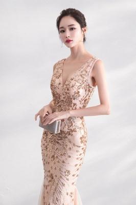 Mermaid V-neck Sleeveless Floor Length Golden Sequined Patterns Tulle Prom/Formal Evening Dresses_5