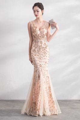 Mermaid V-neck Sleeveless Floor Length Golden Sequined Patterns Tulle Prom/Formal Evening Dresses_4