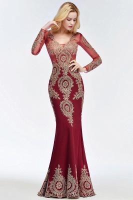 RUTH | Mermaid V-neck Floor Length Long Sleeves Appliques Prom Dresses_6