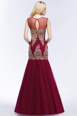 RUBY | Mermaid Sleeveless Sheer Neckline Appliqued Burgundy Tulle Prom Dresses_4