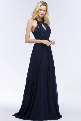 PANSY | A-line Keyhole Neckline Halter Long Beading Prom Dresses_9