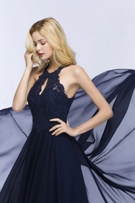 PANSY | A-line Keyhole Neckline Halter Long Beading Prom Dresses_8