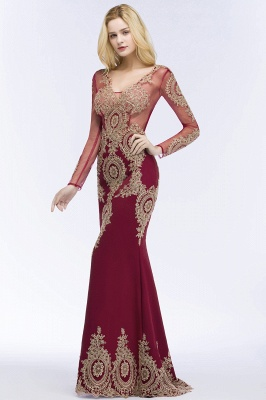 RUTH | Mermaid V-neck Floor Length Long Sleeves Appliques Prom Dresses_5