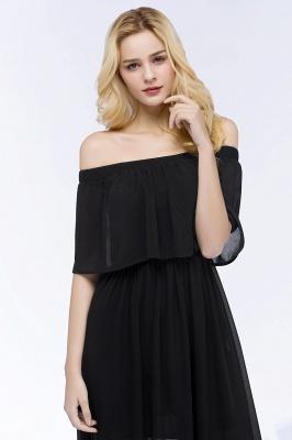 PANDORA | A-line Off-the-shoulder Floor Length Black Chiffon Bridesmaid Dresses_11