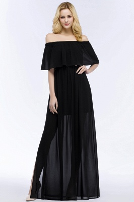 PANDORA | A-line Off-the-shoulder Floor Length Black Chiffon Bridesmaid Dresses_2