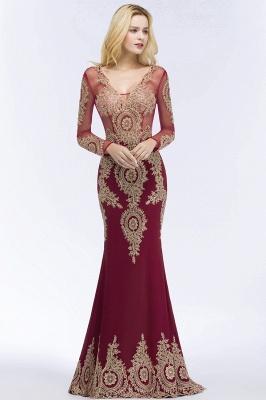 RUTH | Mermaid V-neck Floor Length Long Sleeves Appliques Prom Dresses_3