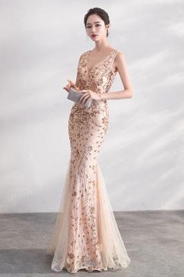 Mermaid V-neck Sleeveless Floor Length Golden Sequined Patterns Tulle Prom/Formal Evening Dresses_1