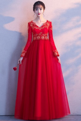 A-line Long Sleeves V-neck Lace-up Red Tulle Prom Dresses/Formal Evening Gowns with Lace Appliques_10
