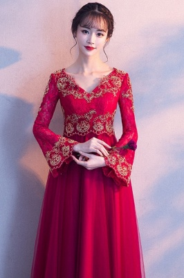 A-line Long Sleeves V-neck Lace-up Red Tulle Prom Dresses/Formal Evening Gowns with Lace Appliques_8