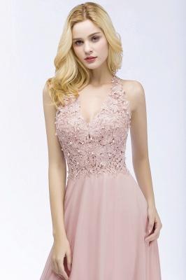 PAM   A-line V-neck Sleeveless Long Appliques Chiffon Bridesmaid Dresses_8