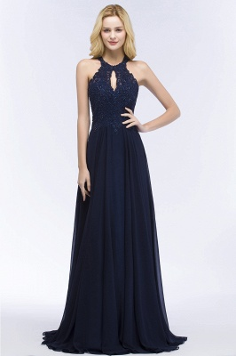 PANSY | A-line Keyhole Neckline Halter Long Beading Prom Dresses_10