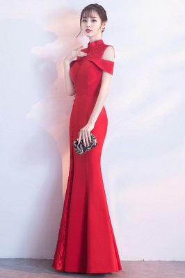 Mermaid High Neck Floor Length Red Lace Hollow Lace-up Prom Dresses/Formal Evening Gowns_6